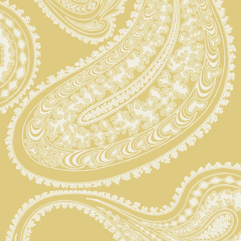 Cole & Son Rajapur Flock Yellow/White Wallpaper - 112/9031