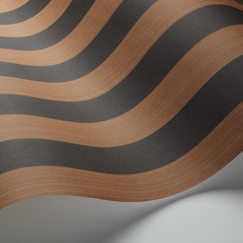 Cole & Son Regatta Stripe Tan/Black Wallpaper - 110/3017