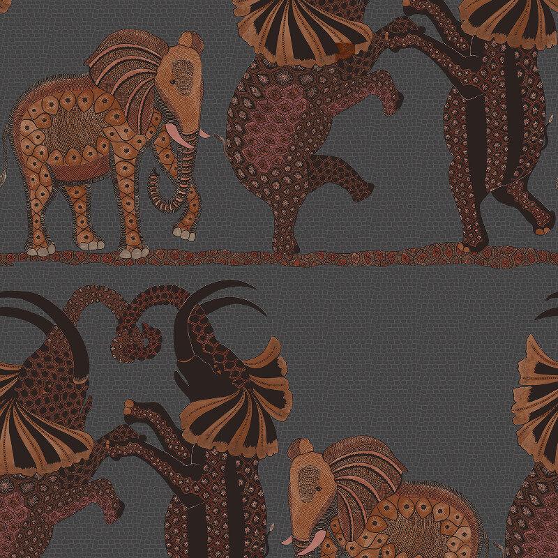 Cole & Son Safari Dance Charcoal/Red Wallpaper - 109/8040