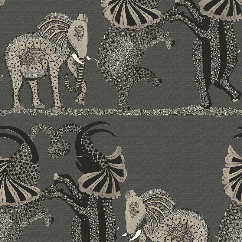 Cole & Son Safari Dance Charcoal/White Wallpaper - 109/8039