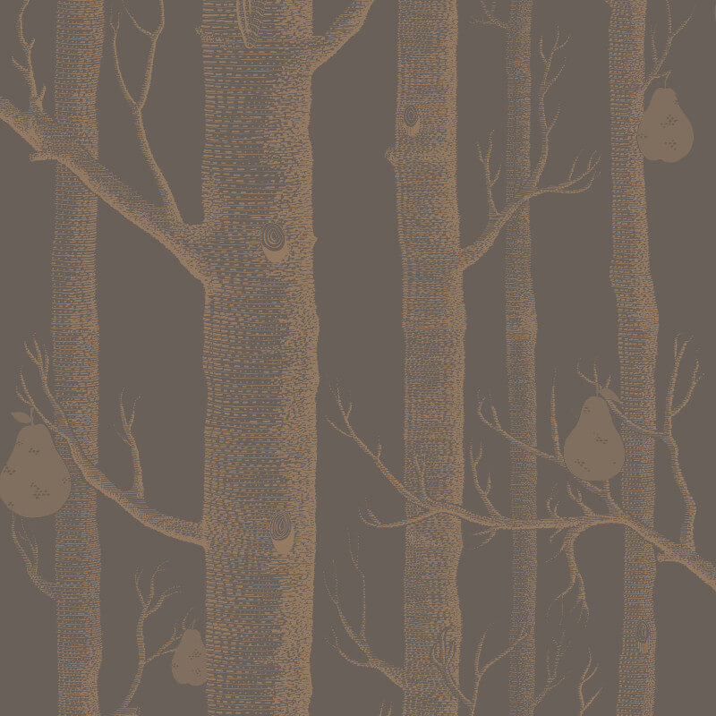 Cole & Son Woods and Pears Bronze/Black Wallpaper - 95/5028