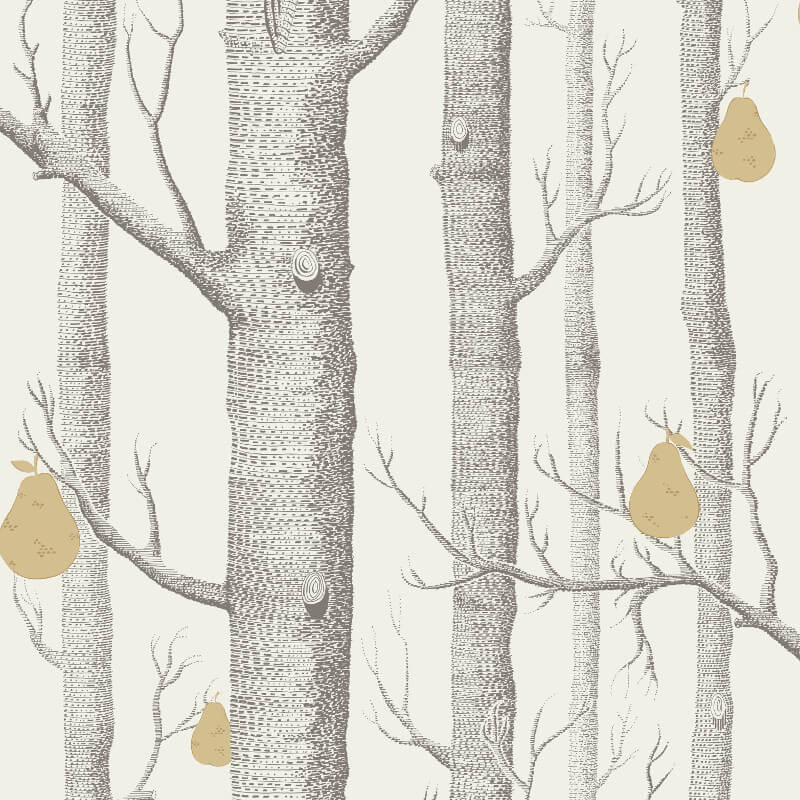 Cole & Son Woods and Pears Grey/White Wallpaper - 95/5032