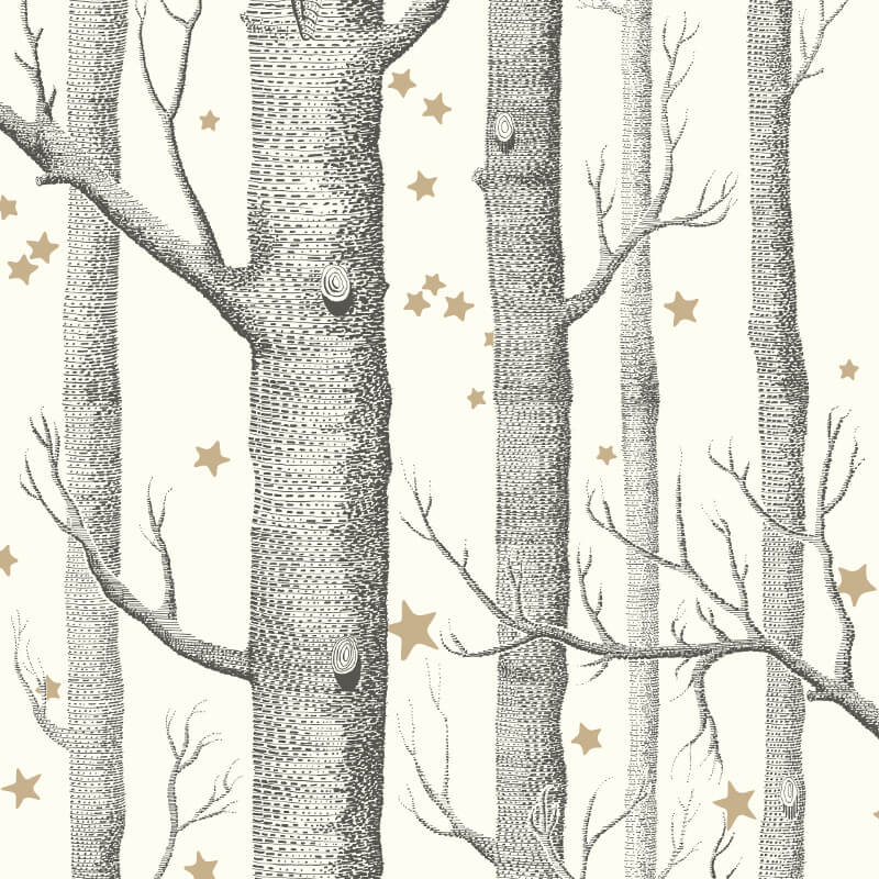 Cole & Son Woods and Stars Black/White Wallpaper - 103/11050
