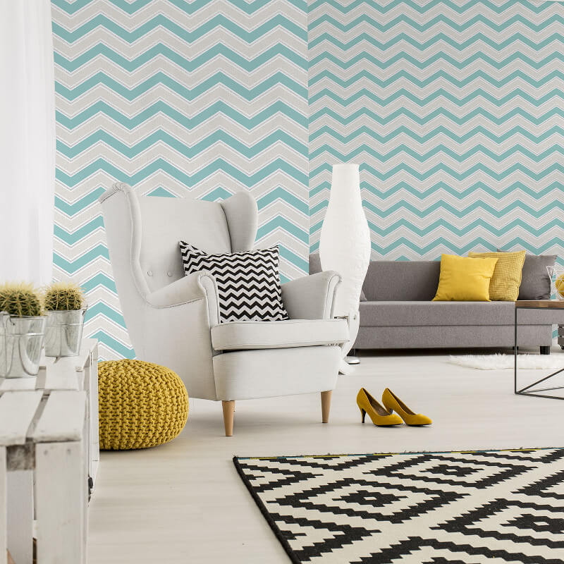 Coloroll Chevron Geometric Wave Teal Glitter Wallpaper - M1145
