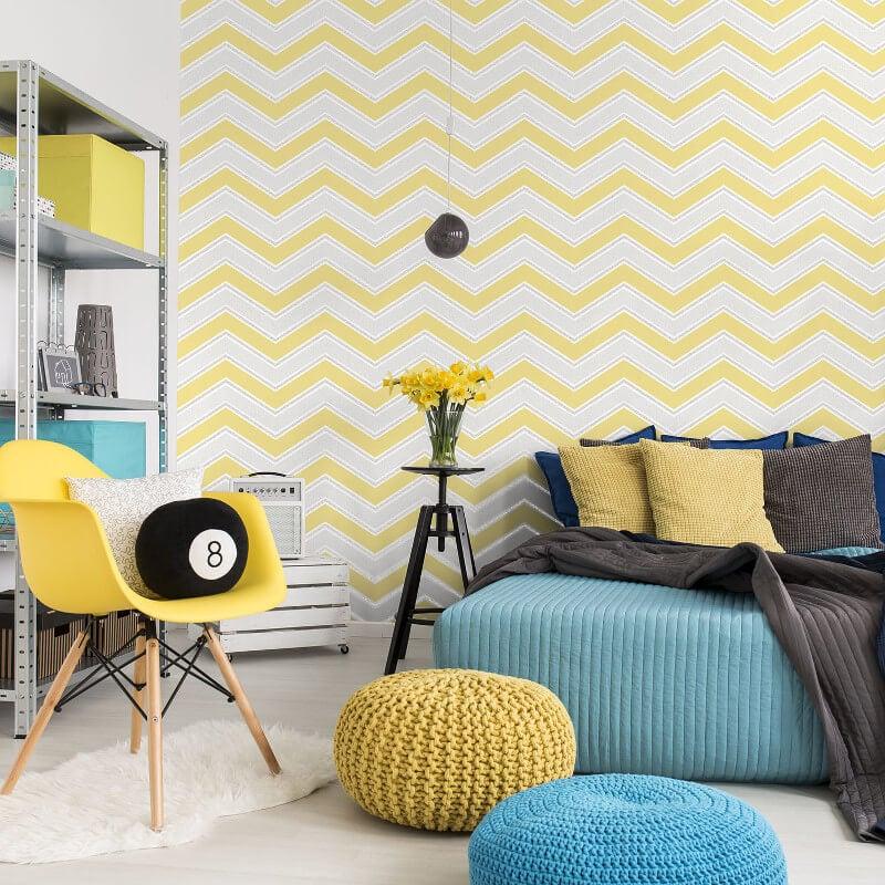 Coloroll Chevron Geometric Wave Yellow Glitter Wallpaper - M1144