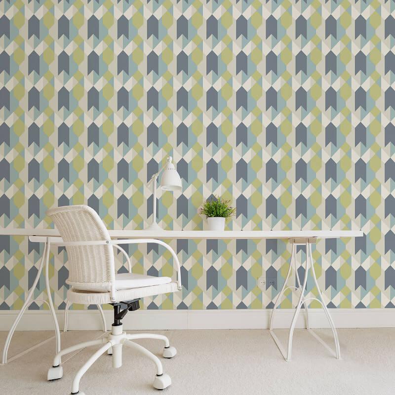 Coloroll Copenhagen Geometric Blue/Green Wallpaper - M1327