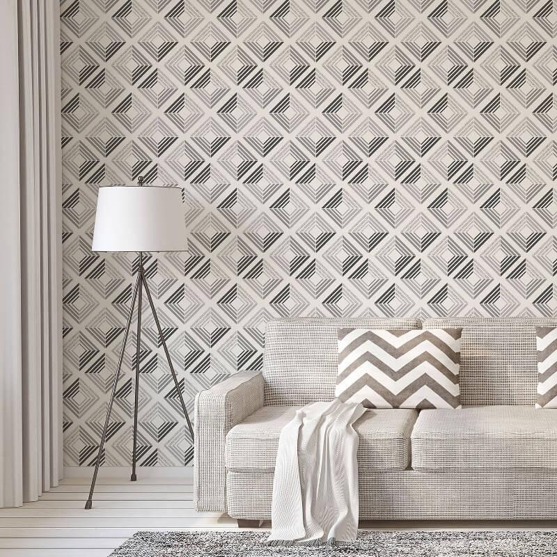 Coloroll Echo Geometric Charcoal Glitter Wallpaper - M1298