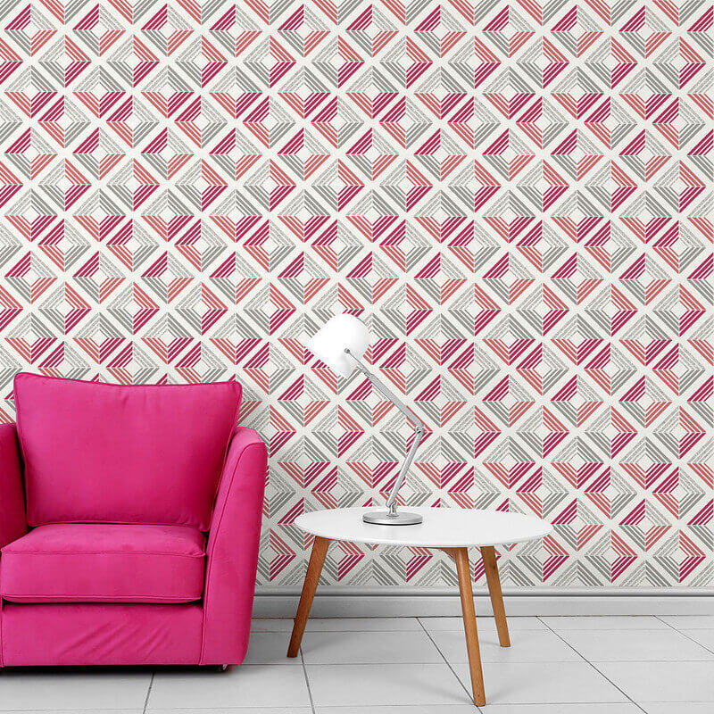 Coloroll Echo Geometric Coral Glitter Wallpaper - M1300