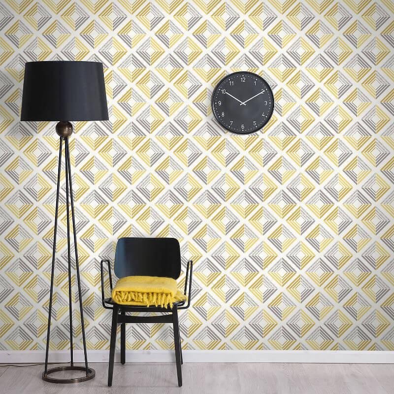 Coloroll Echo Geometric Ochre Glitter Wallpaper - M1299