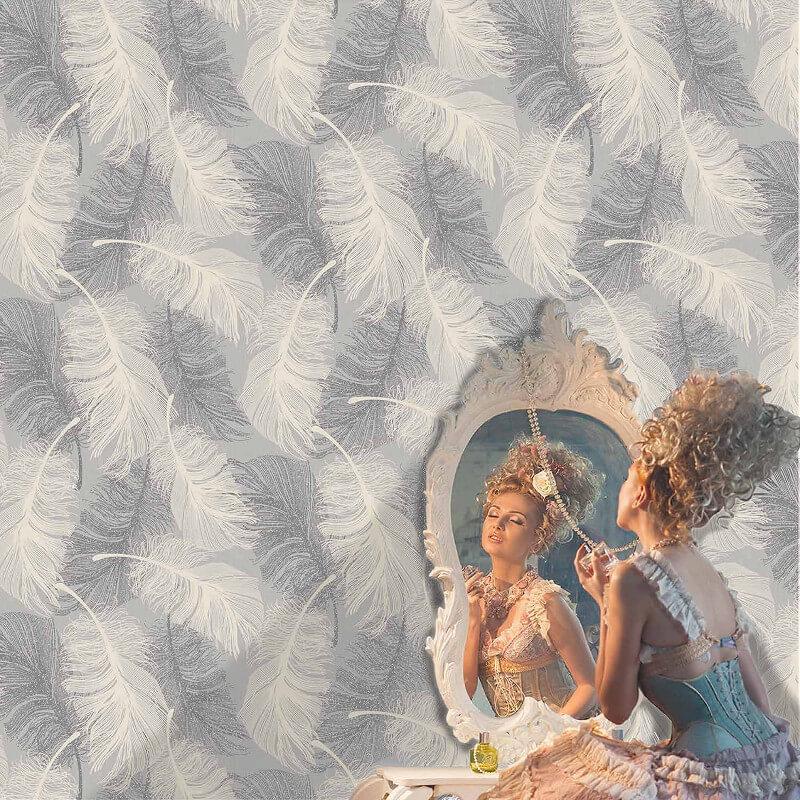 Coloroll Feathers Dappled Grey Glitter Wallpaper - M0923