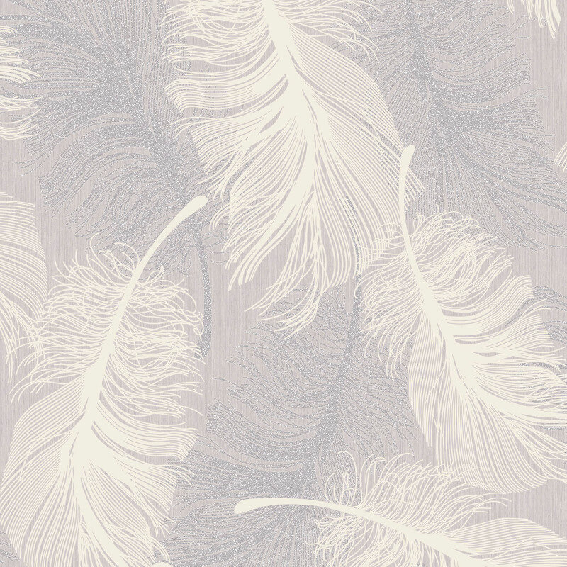 Coloroll Feathers Lilac Glitter Wallpaper - M1072