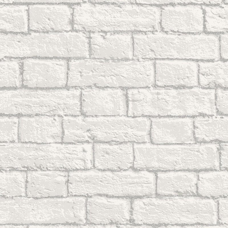 Coloroll Brick White Glitter Wallpaper - M1038