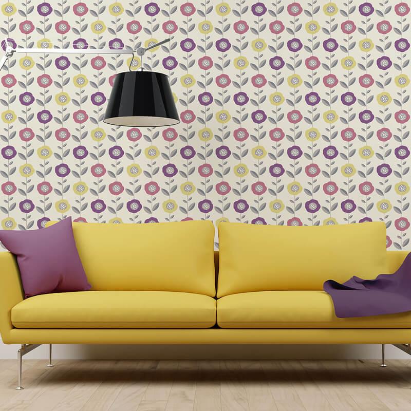 Coloroll Helsinki Geo Flowers Pink/Yellow Wallpaper - M1324