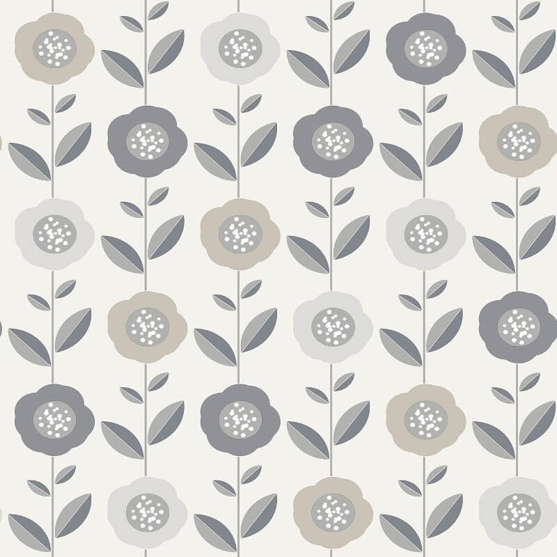 Coloroll Helsinki Geo Flowers Silver/Grey Wallpaper - M1325