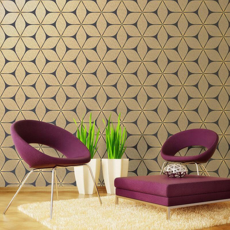 Coloroll Vibration Glitter Wallpaper In Black And Gold   M1024