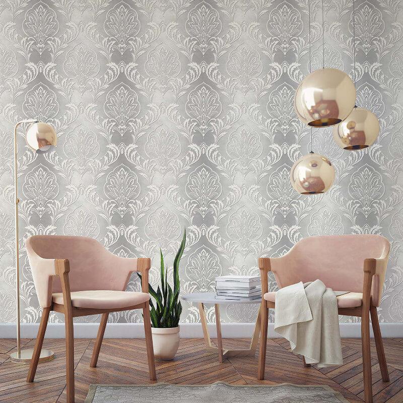 Crown Aiya Damask Grey Wallpaper - M1163