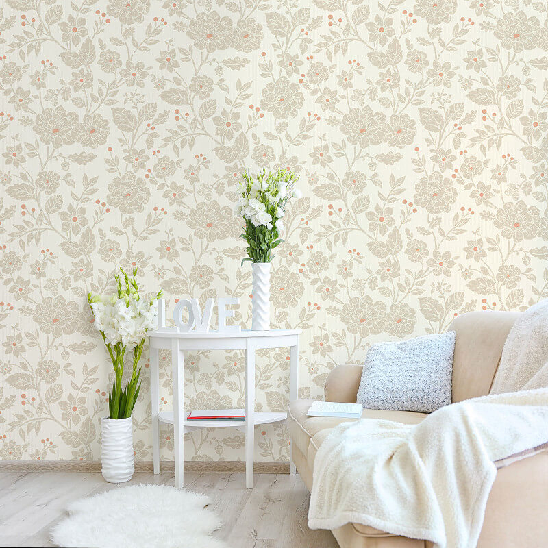 Crown Alexandra Floral Burnt Orange Wallpaper - M1351