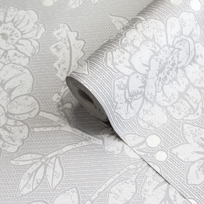 Crown Alexandra Floral Silver/Grey Wallpaper - M1349