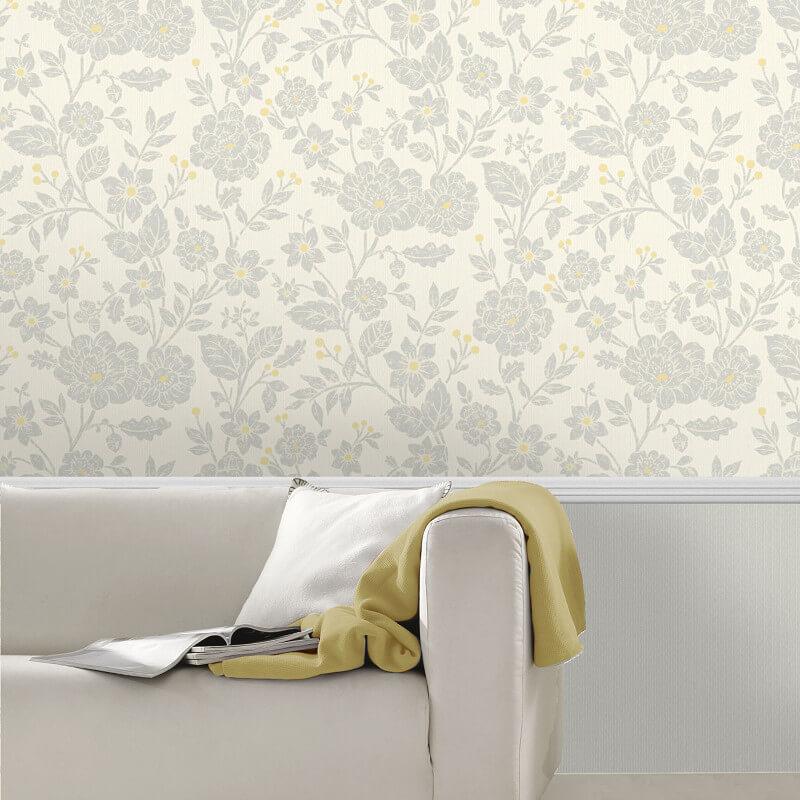 Crown Alexandra Floral Yellow/Grey Wallpaper - M1348