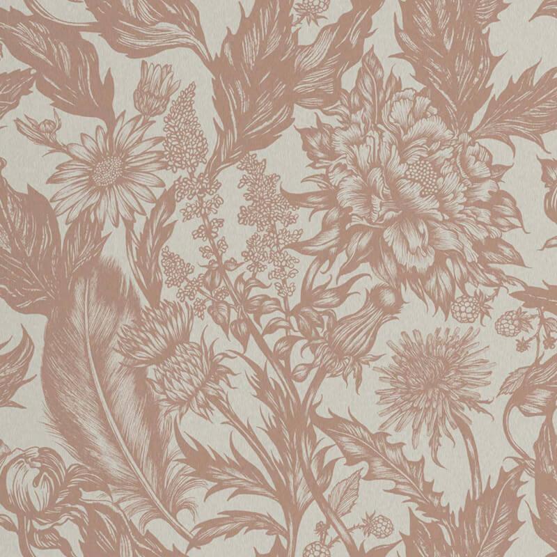 Crown Alexis Floral Rose Gold Metallic Wallpaper