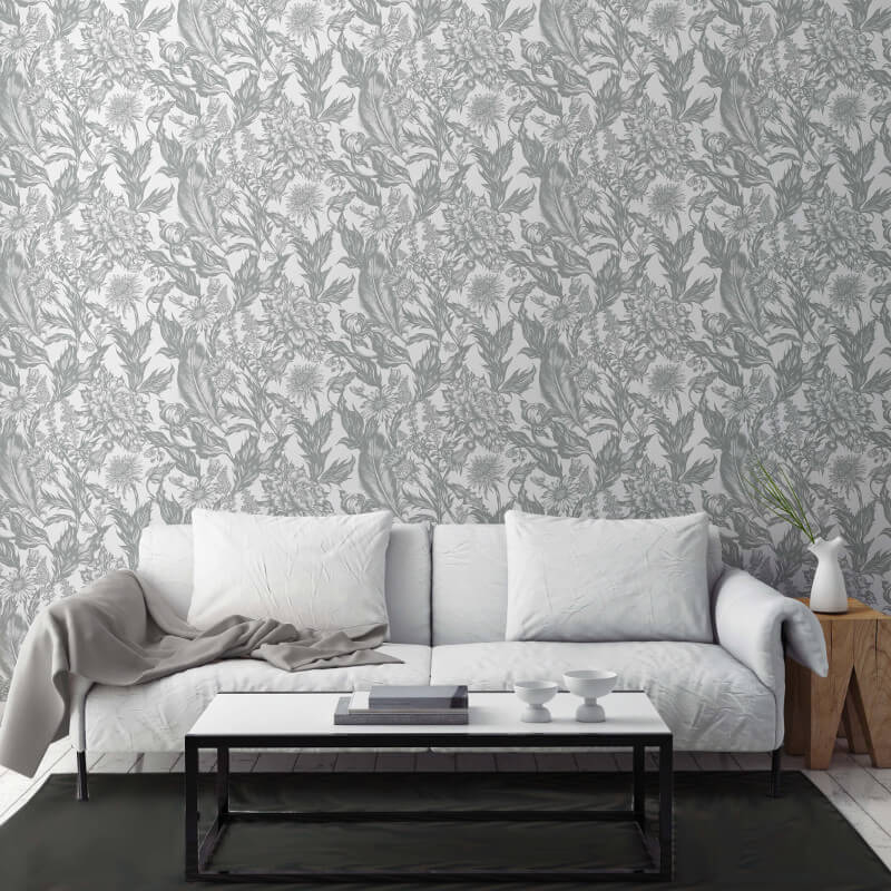 Blue Metallic Paint For Walls Popular Uk Wall Painting: Crown Alexis Floral Silver Metallic Wallpaper