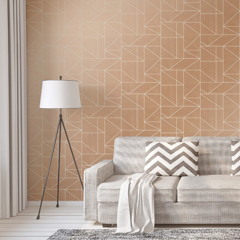 Crown Alexis Geometric Rose Gold Metallic Wallpaper - M1382
