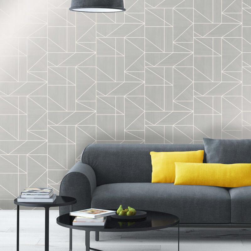 Crown Alexis Geometric Silver Metallic Wallpaper - M1381