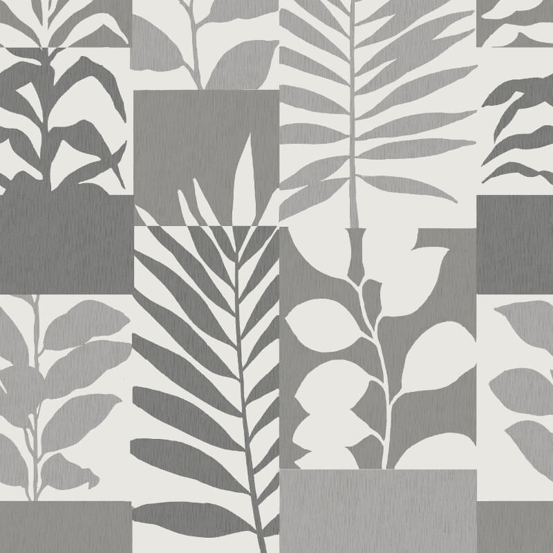 Crown Alexis Leaf Silver Metallic Wallpaper - M1383