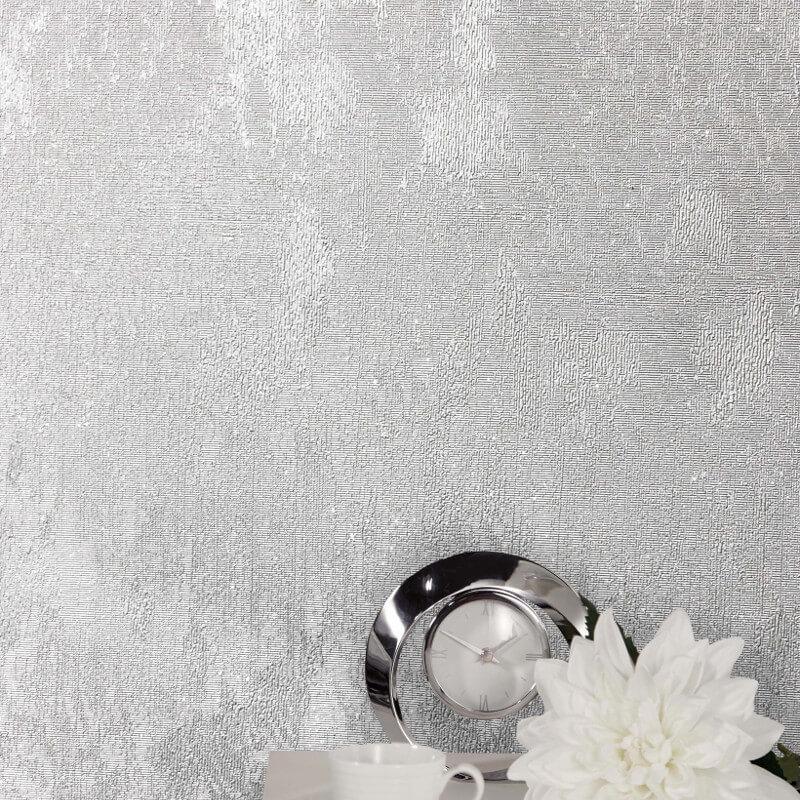 Crown Alexis Texture Silver Metallic Wallpaper - M1386