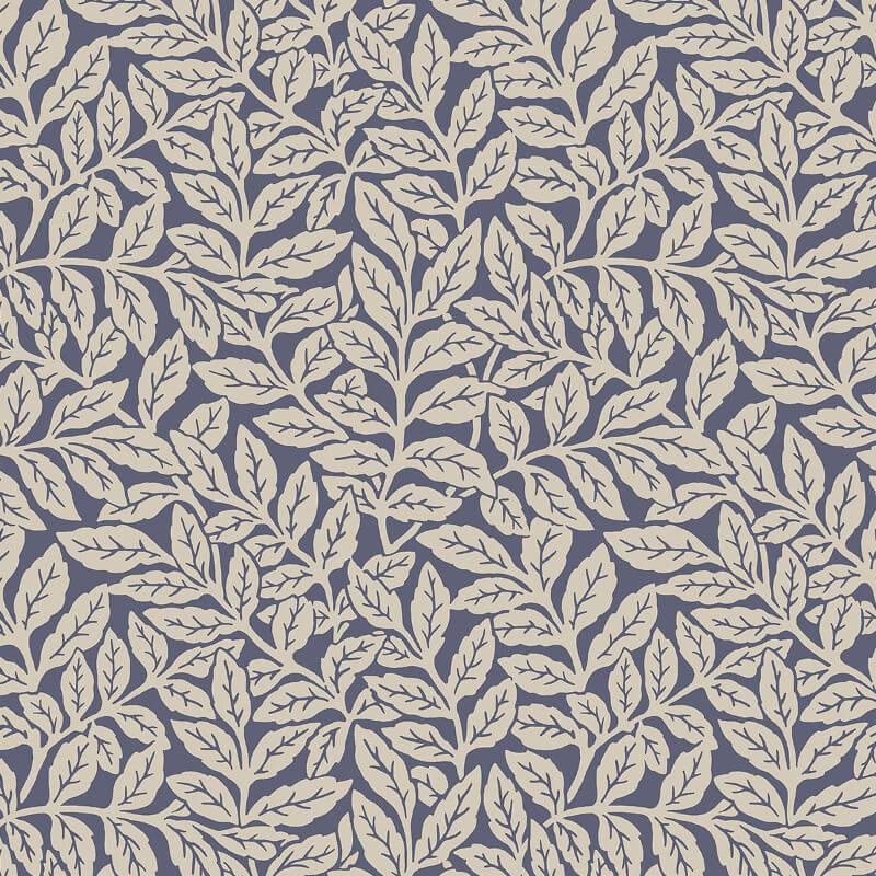 Crown Ash Branch Floral Dark Blue Wallpaper - M1182