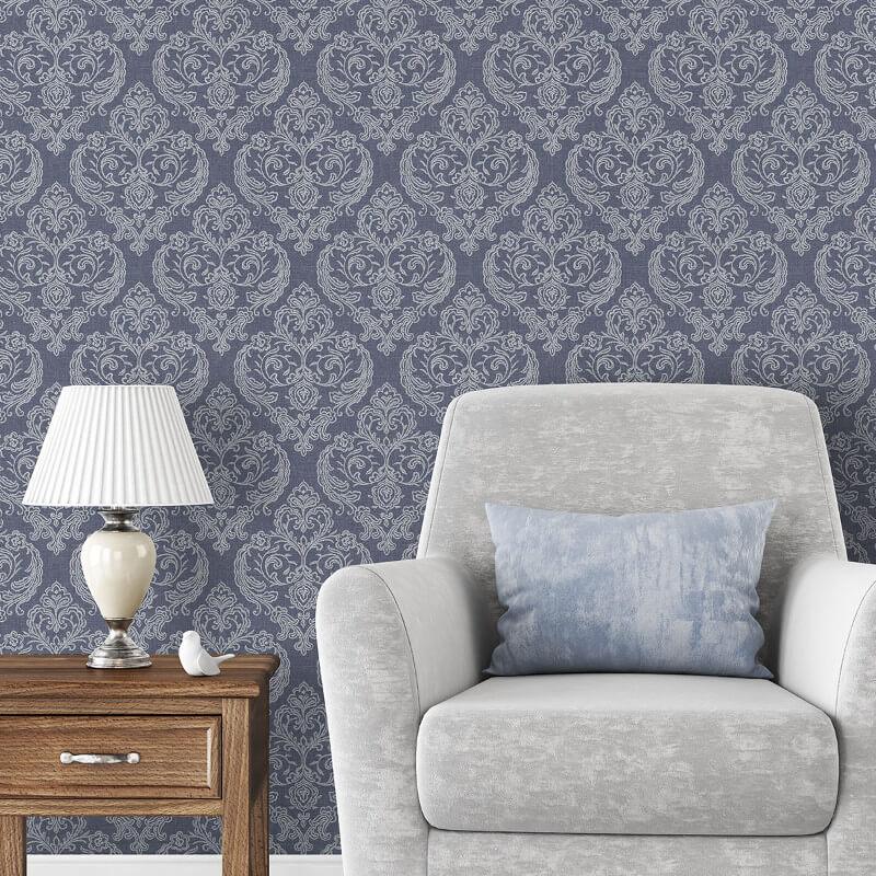 Crown Calico Damask Linen Blue Wallpaper - M1307