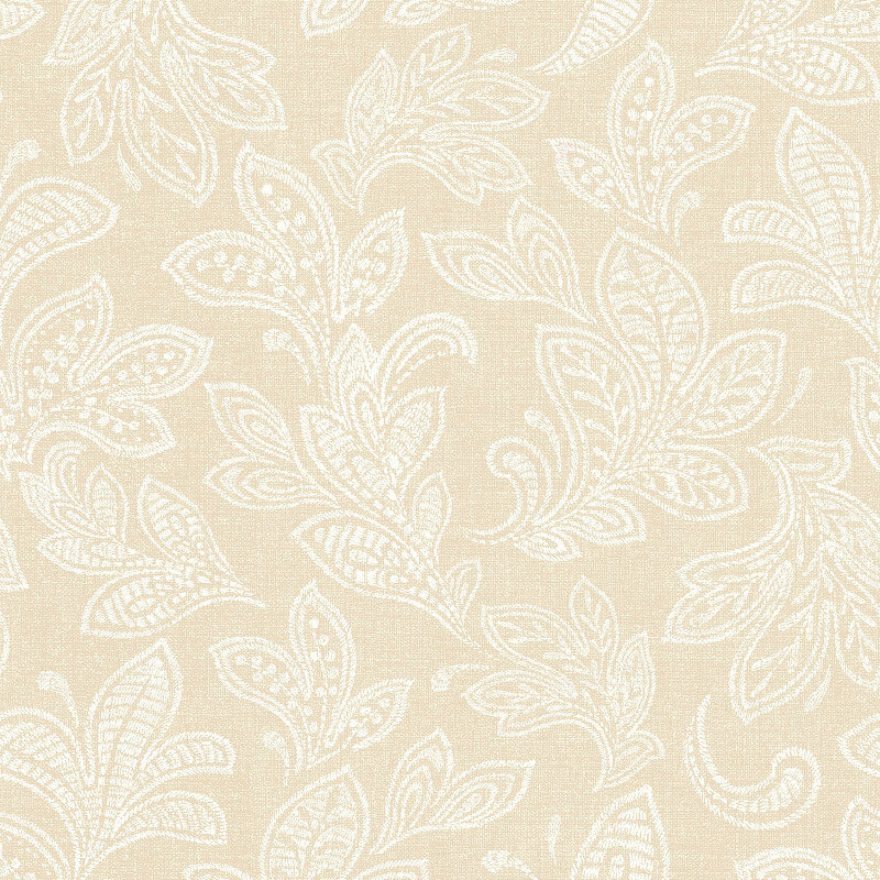 Crown Calico Leaf Buttermilk Wallpaper - M1150