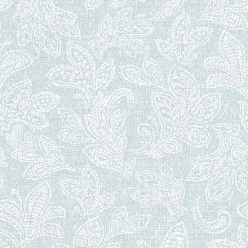 Crown Calico Leaf Duck Egg Wallpaper - M1151