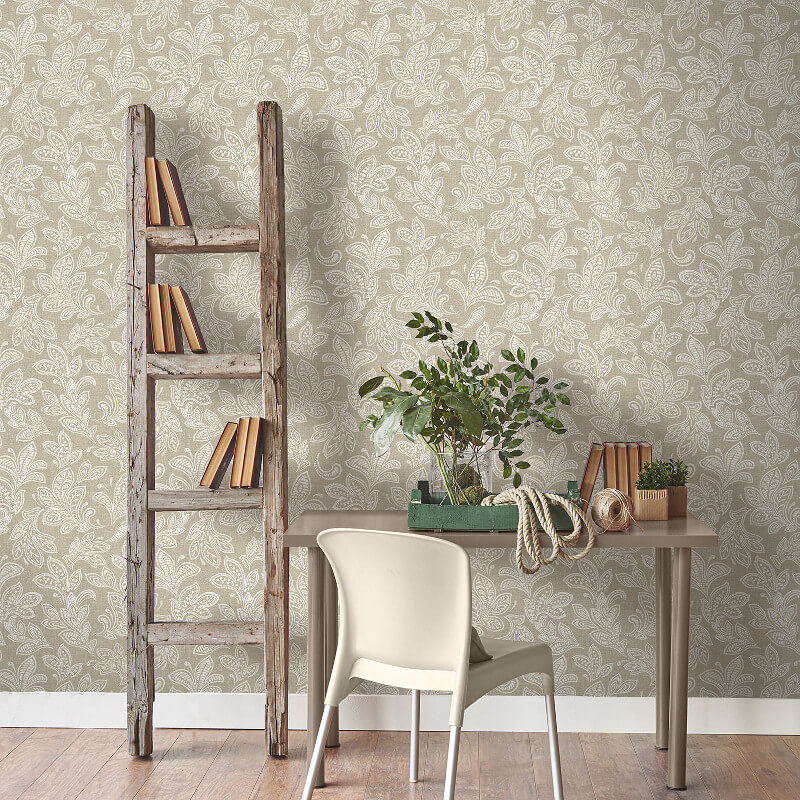 Crown Calico Leaf Hessian Wallpaper - M1120