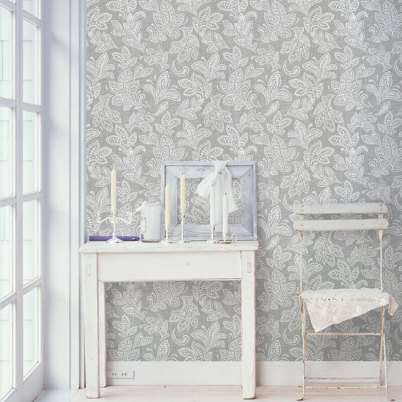 Crown Calico Leaf Wallpaper in Soft Grey - M1119