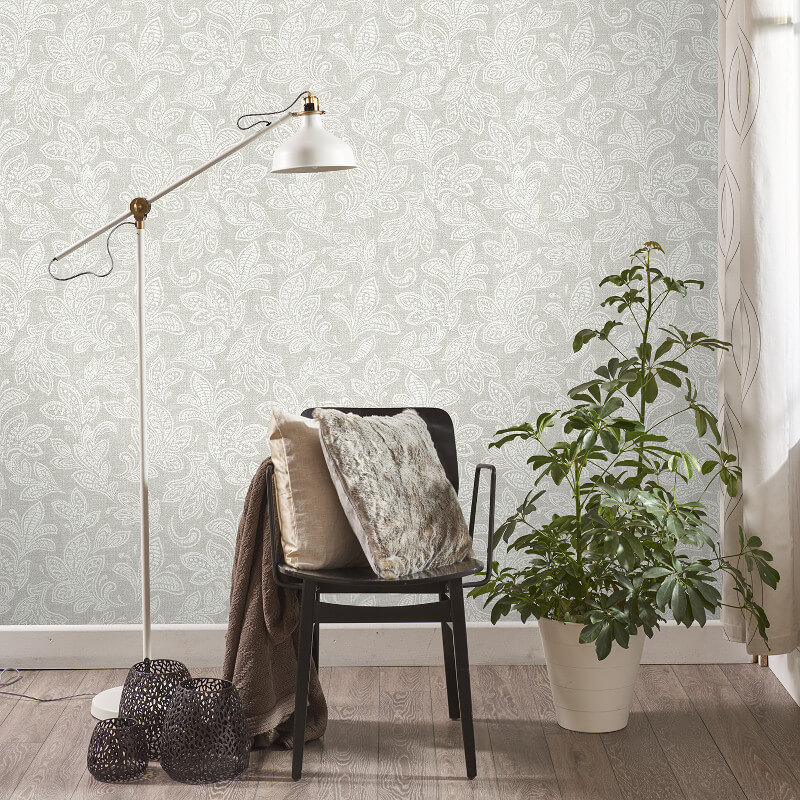 Crown Calico Leaf Stone Washed Wallpaper - M1118