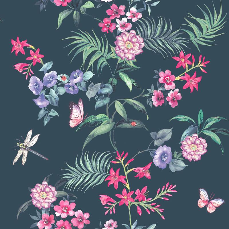 Crown Carmen Floral Stripe Blue/Black Wallpaper - M1345