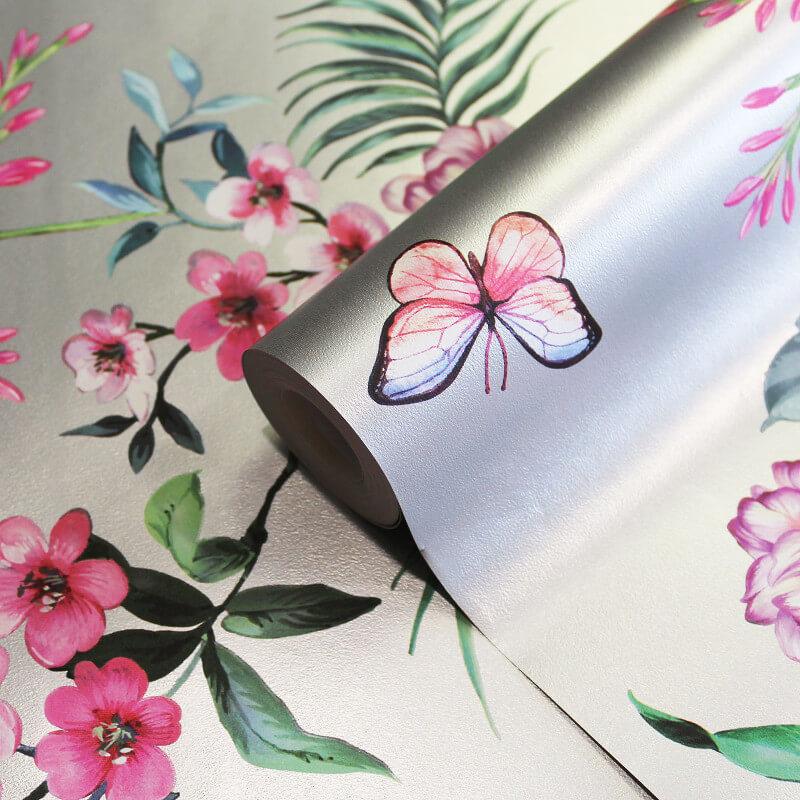 Crown Carmen Floral Stripe Silver Wallpaper - M1346