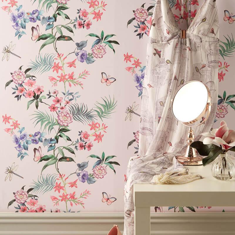 Crown Carmen Floral Stripe Soft Pink Wallpaper - M1347