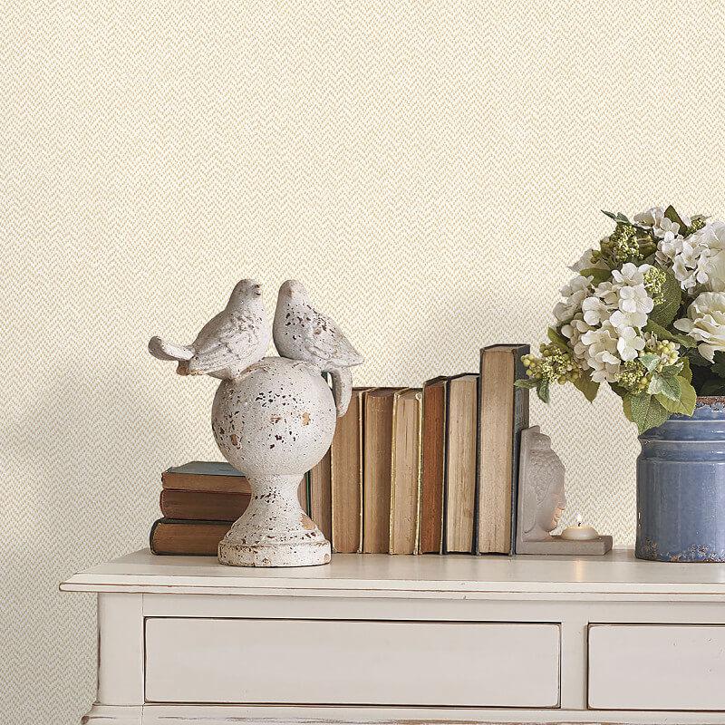 Crown Cotton Tweed Buttermilk Wallpaper - M1152