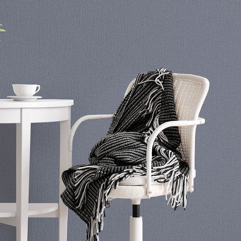 Crown Cotton Tweed Linen Blue Wallpaper - M1306