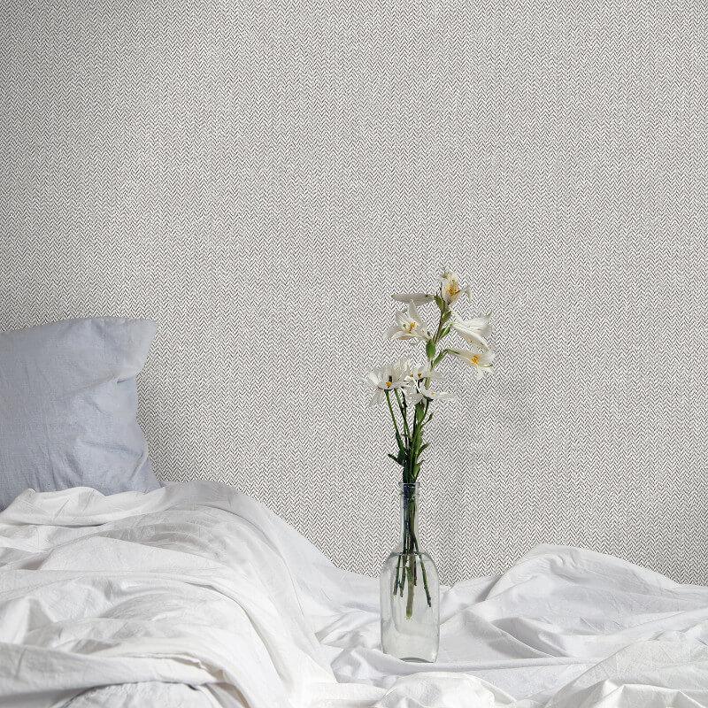 Crown Cotton Tweed Soft Grey Wallpaper - M1116