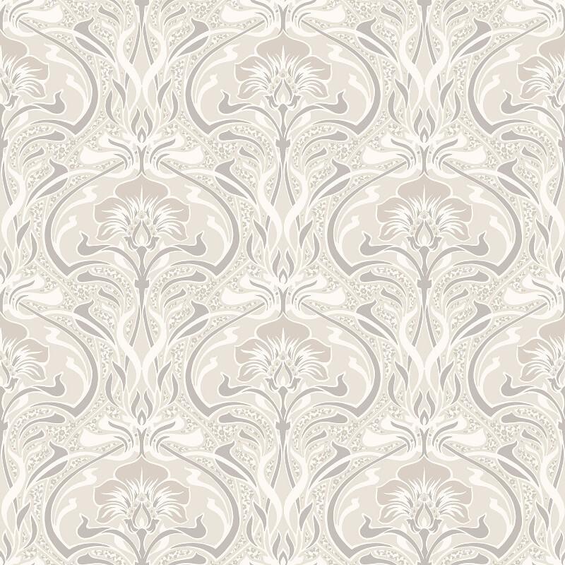 Crown Flora Nouveau Floral Natural Wallpaper - M1197