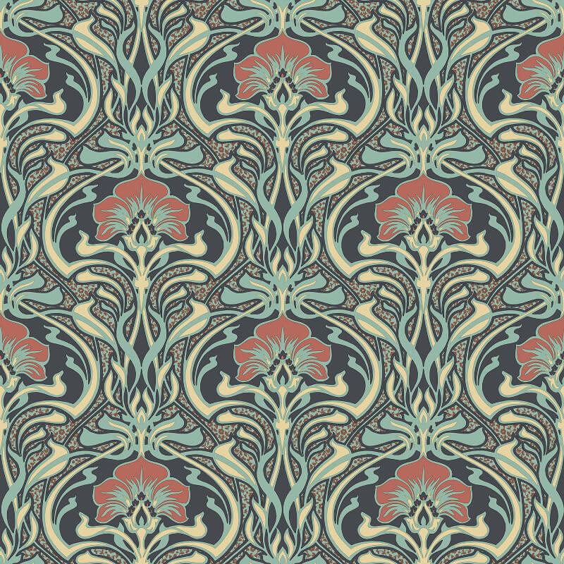 Crown Flora Nouveau Floral Peacock Green Wallpaper - M1196