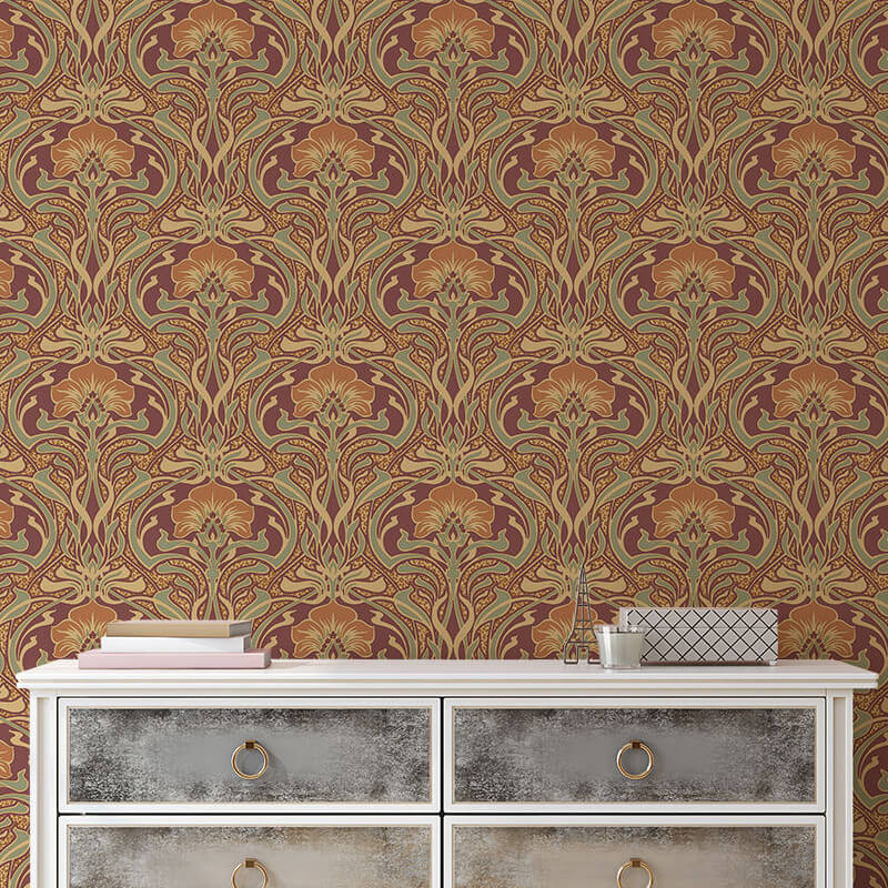 Crown Flora Nouveau Floral Russet Wallpaper - M1194