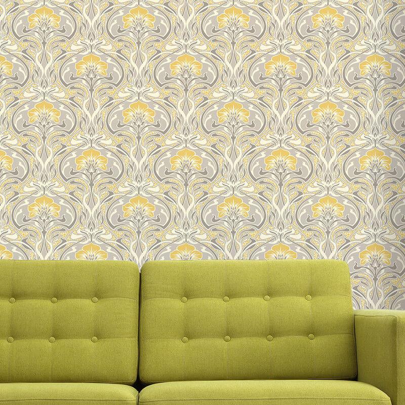 Crown Flora Nouveau Floral Yellow Wallpaper
