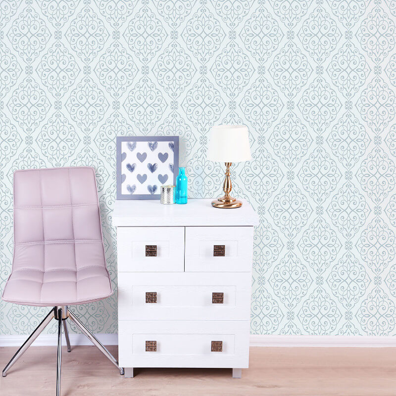 Crown Jasmine Damask Glitter Wallpaper in Blue - M1090
