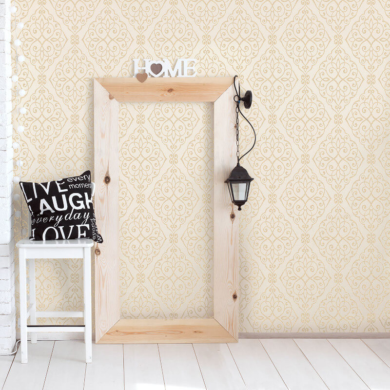 Crown Jasmine Damask Glitter Wallpaper in Cream - M1089