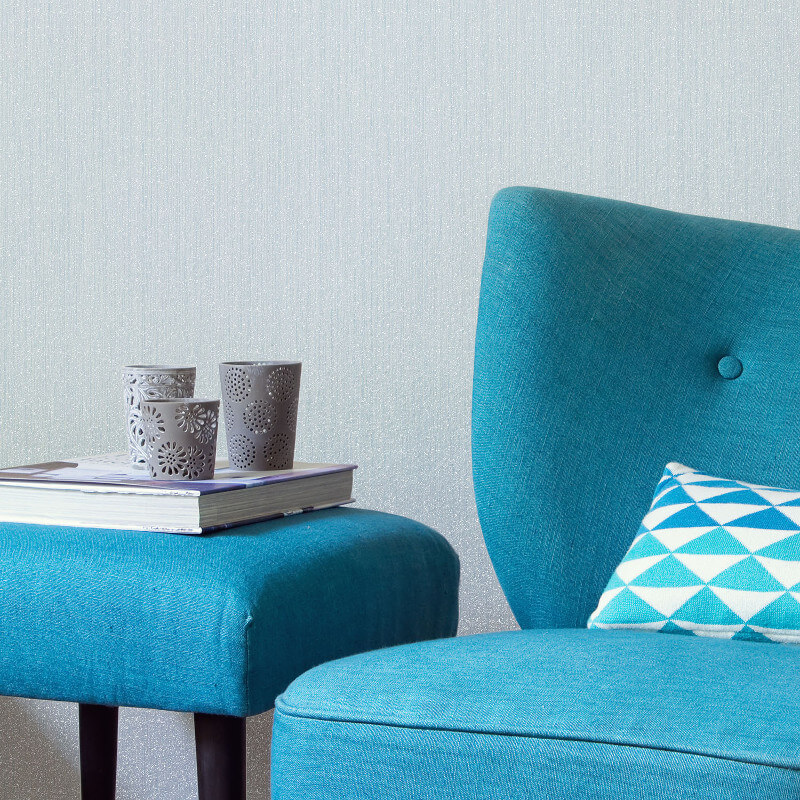 Crown Jasmine Plain Glitter Wallpaper in Blue - M1093