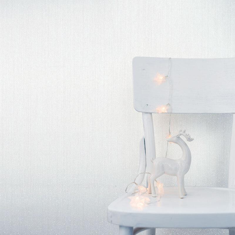 Crown Jasmine Plain Glitter Wallpaper in White - M1091